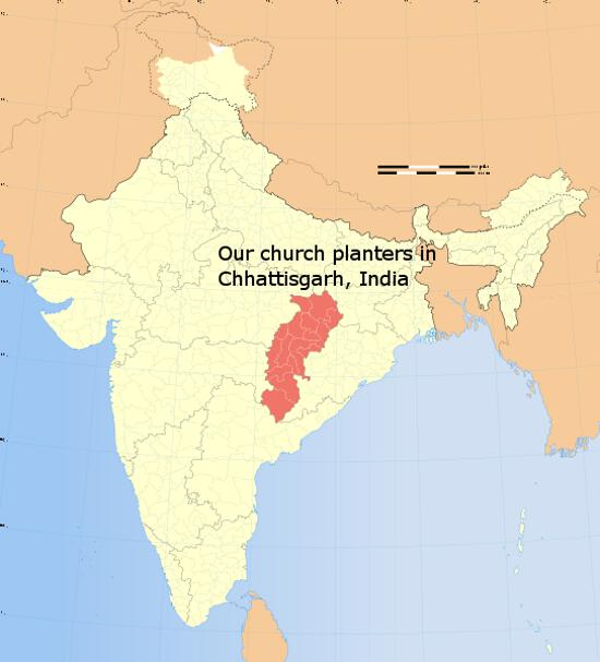 The state of Chhattisgarh where our 10 church planters work